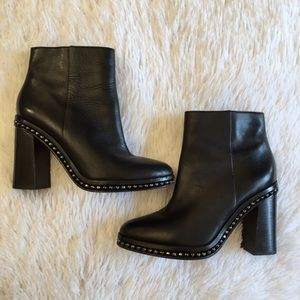 COACH black leather studded bootie